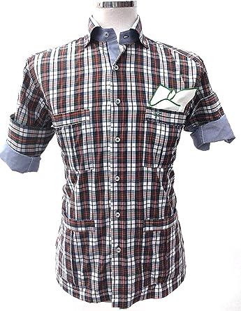 Francisco Pavón Camisa Casual Guayabera de cuadritos Rojos y Verdes. (XS): Amazon.es: Ropa y accesorios