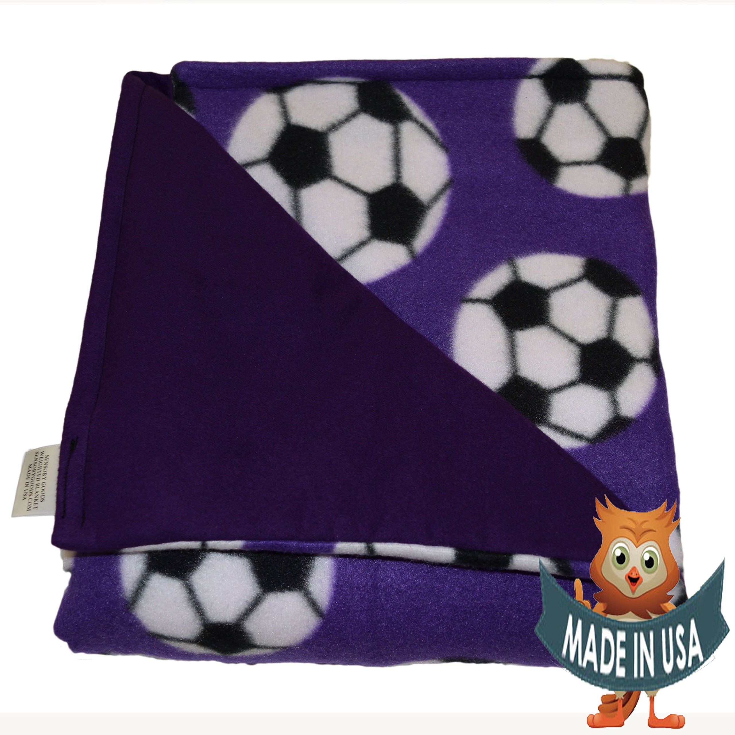 Young Adult Medium Weighted Blanket By Sensory Goods 9lb Low Pressure - Soccer Pattern with Purple - Fleece/Flannel (41'' x 58'')
