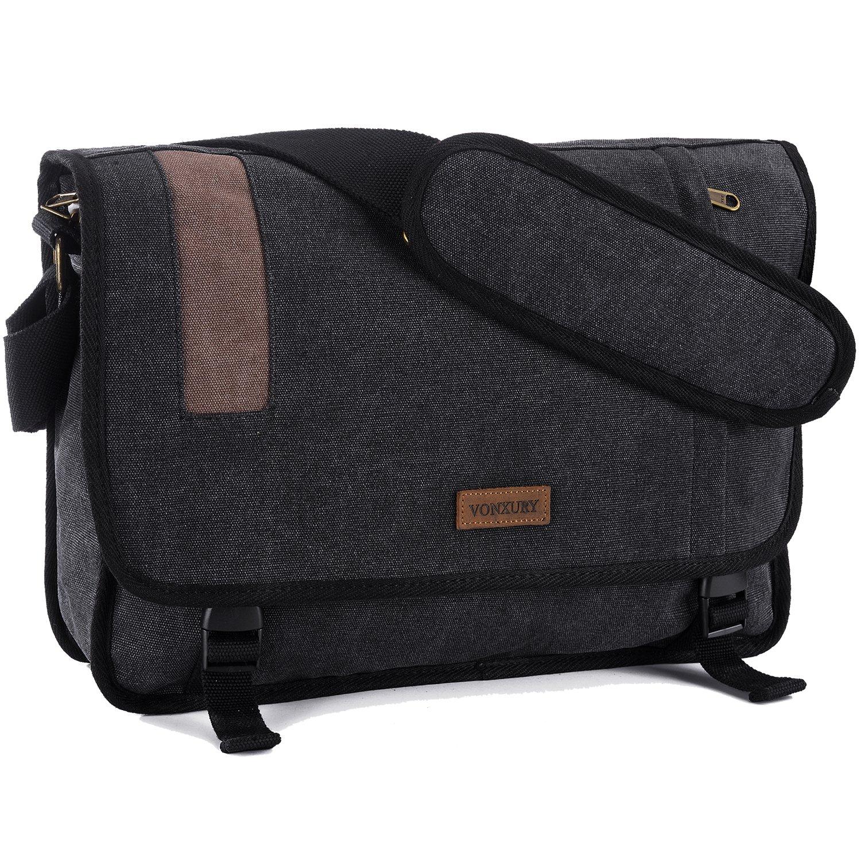 Vonxury Canvas Mens Messenger Bag Vintage 15 inch Laptop Bag Large Satchel Bag