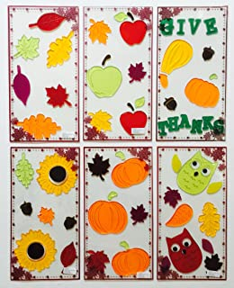 Gel Charms Fall Thanksgiving Window Clings 2018 Scarecrow Pumpkins Sunflowers Stickers Decorations