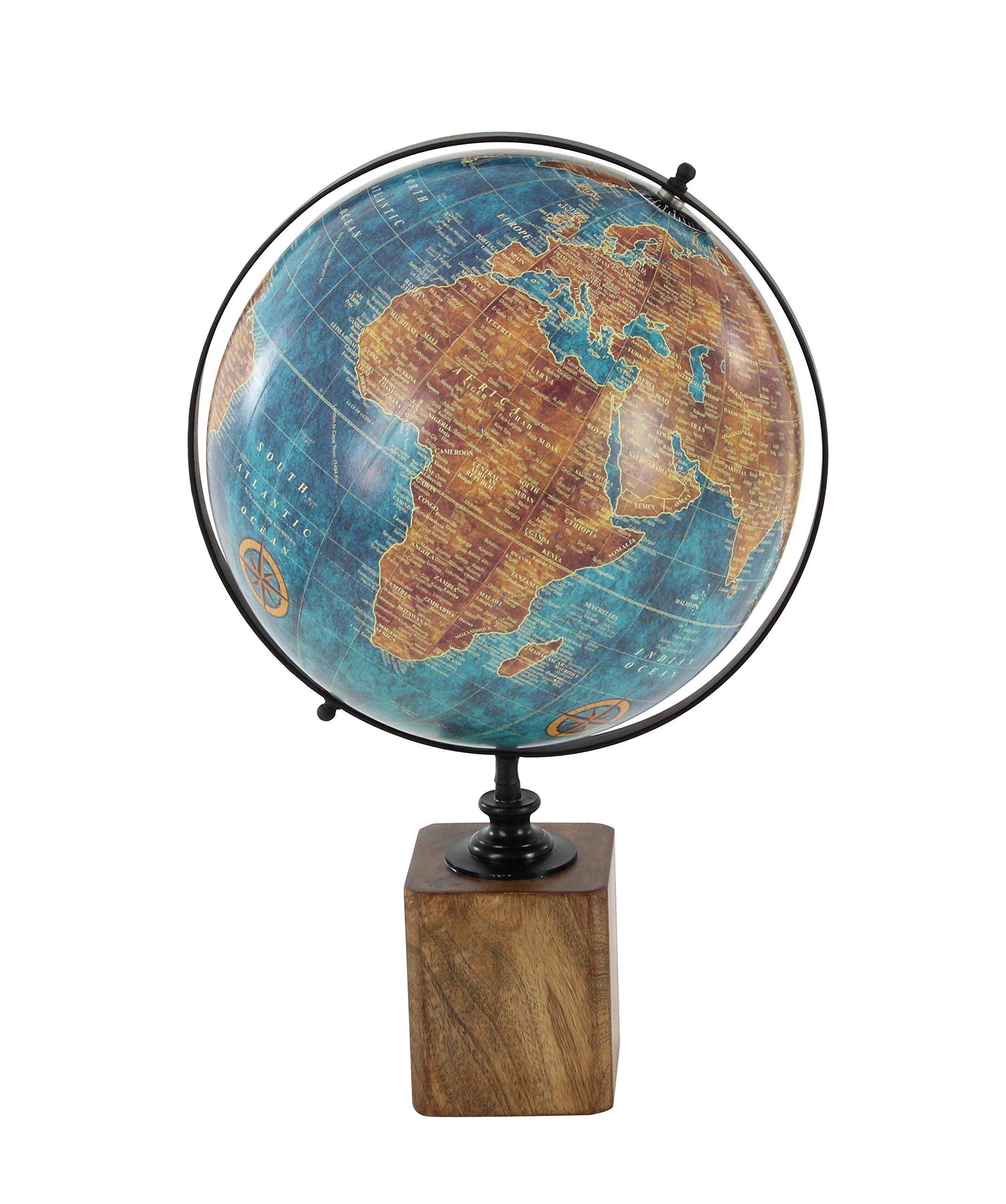 Deco 79 94545 Plastic and Mango Wood Decorative Globe, Blue/Black/Brown