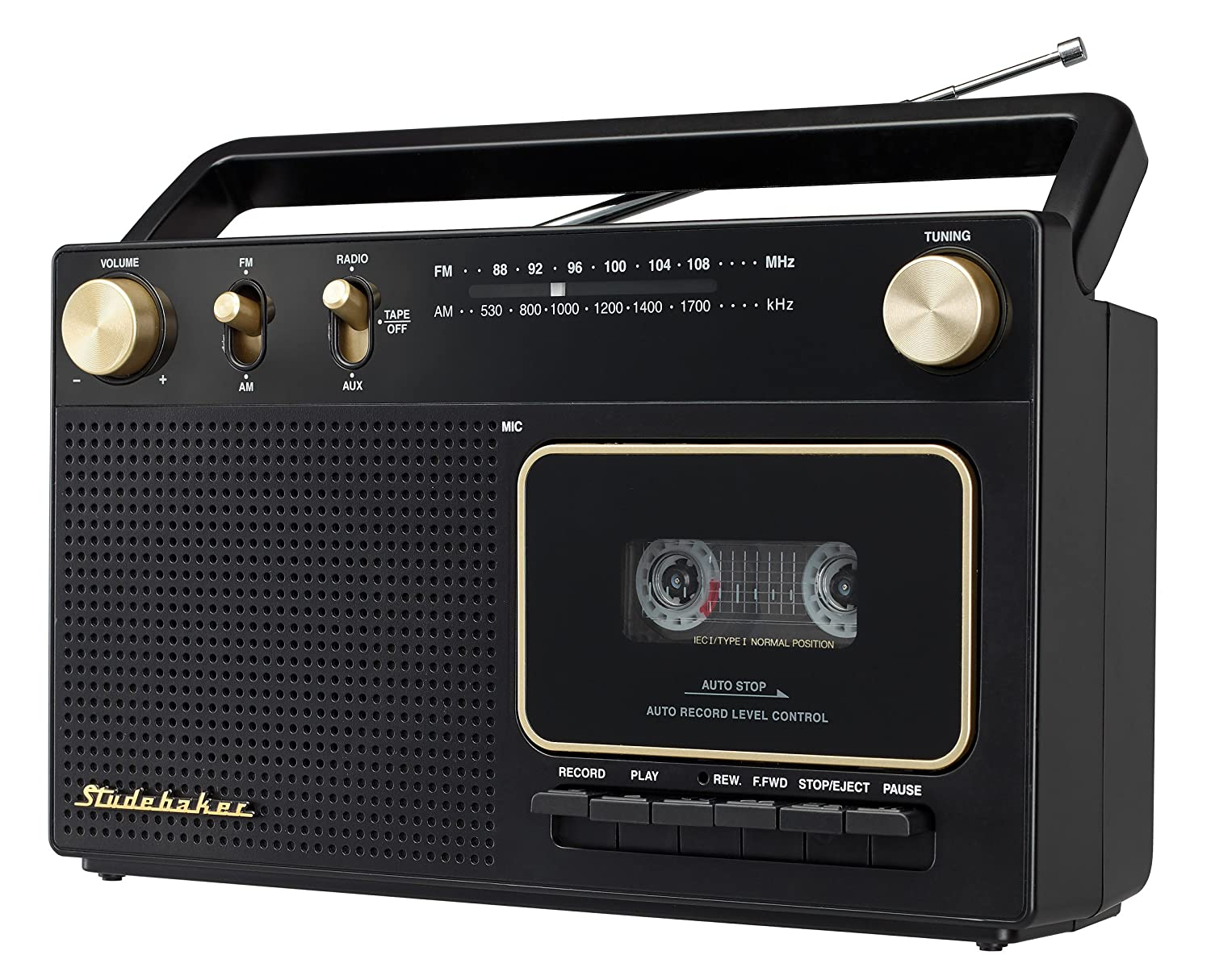 Studebaker Portable Retro Home Audio Stereo AM/FM Radio & Cassette Player/Recorder with Aux Input Jack & Built in Speakers (Limited Edition) SB2129BG Limited Edition