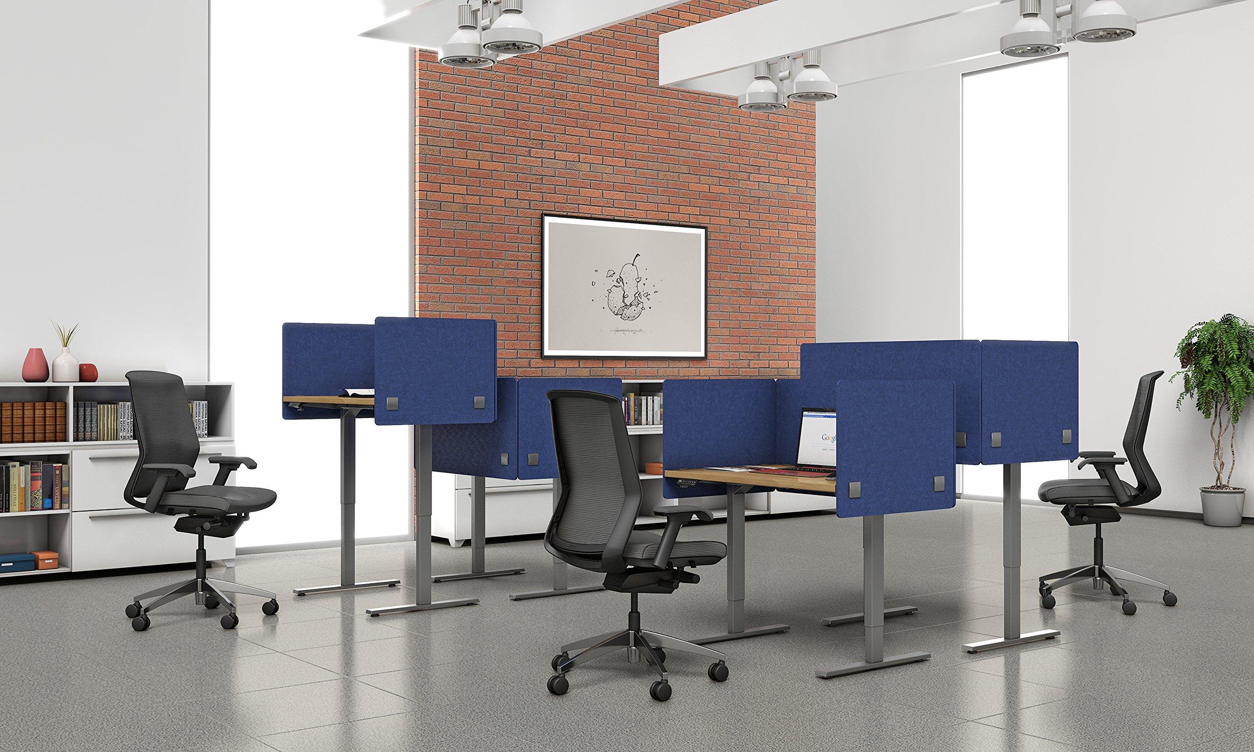 "VaRoom Acoustic Partition, Sound Absorbing Desk Divider – 48"" W x 24""H Privacy Desk Mounted Cubicle Panel, Ash Grey by VaRoom (Image #8)"