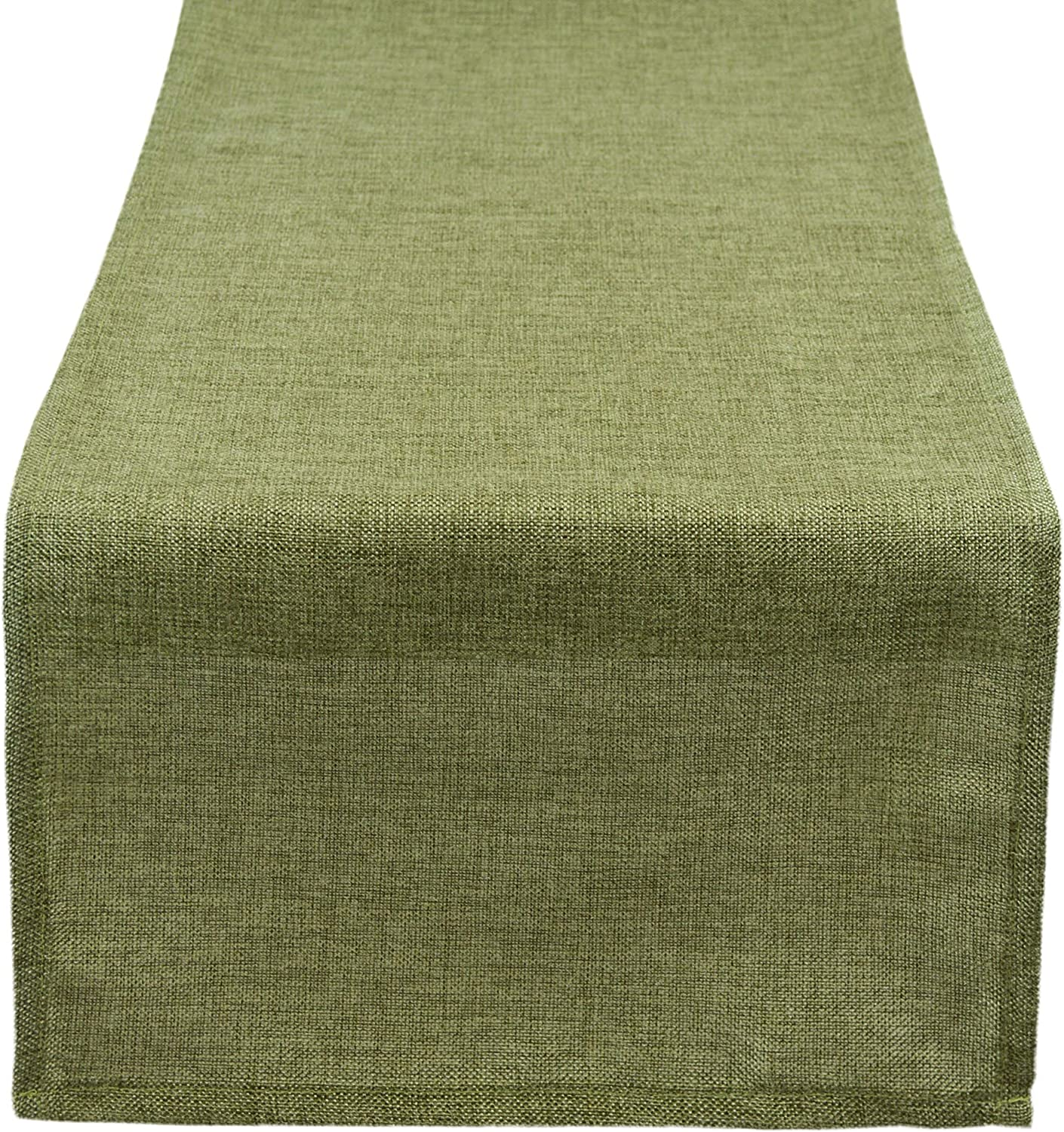 Aiking Home (Pack of 1) Natural Faux Linen Unlined Table Runner, Moss-Size 12''x62'' -Ideal for Wedding, Baby Shower, Party Decor, Thanksgiving, Christmas or Special Event.