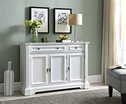 Bon Kings Brand Furniture White Finish Wood Buffet Breakfront Cabinet Console  Table With Storage, Drawers,
