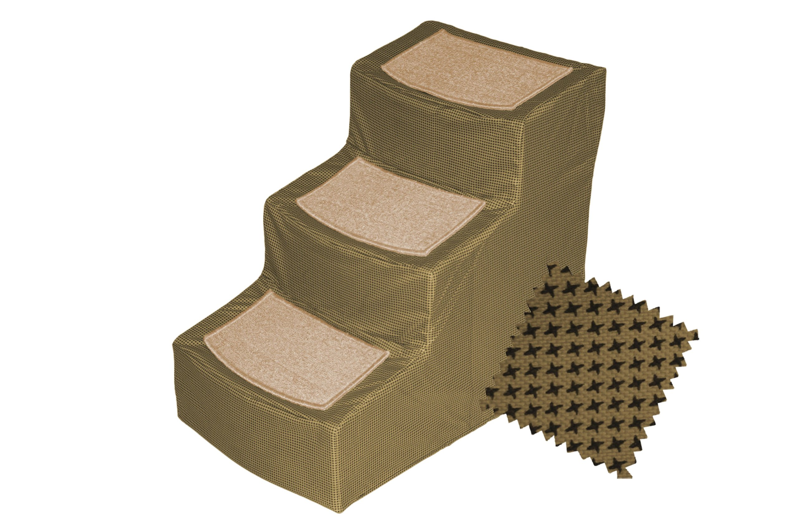 Pet Gear Designer 3-Step Removable Cover, Pet Stairs, Tan