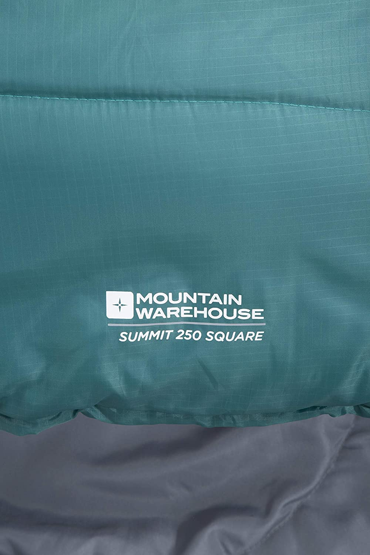 200cm Regular Length Mountain Warehouse Summit 250 Square Sleeping Bag Camping Bag Petrol Blue Right Handed Zip