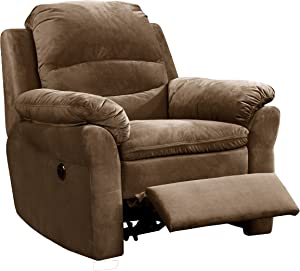 Christies Home Living Contemporary Style Fabric Upholstered Living Room Electric Recliner Power Chair, Brown