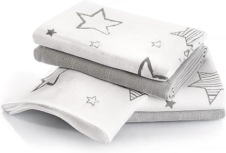 Muselina bebé algodón - 4 Ud., 70x70 cm, estampado estrellas ...