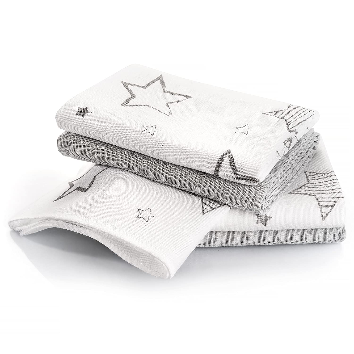 Makian - Muslin Squares / Nappies / Burp Cloths / 4 Pack / 70x70 cm / Grey Stars / Double Woven - Oeko-Tex Certified, washable at 60°C