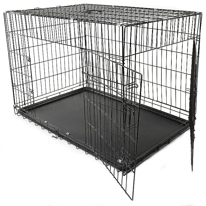 TRESKO® Jaula de Transporte Plegable para Perros (XL 105 x 71 x 78 cm), Cachorros y Otro Tipo de Mascotas, Jaula de Metal con Bandeja extraíble ...