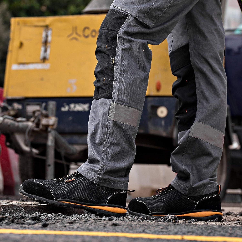 Black Hammer Chaussure de Sécurité S1P pour Homme avec Embout en Métal Ultra Léger et Semelles Intérieures en Kevlar Respirant S1P SRC 4444 Noir
