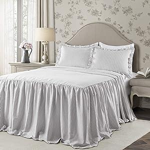 Lush Decor Lush Décor Ticking Stripe Bedspread Gray Shabby Chic Farmhouse Style Lightweight 3 Piece Set King
