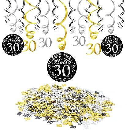 30th Birthday Decoration Konsait Hanging Swirl 15 Counts Happy