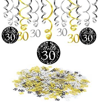 Konsait 30 cumpleaños Colgando Remolinos decoración de Techo (15 Cuentas), Feliz cumpleaños & 30 Mesa Confeti (1.05 oz) para Adultos 30 Años de ...