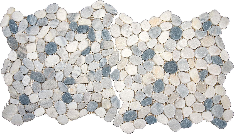 M S International Black/White Pebbles 12 In. X 10 mm Marble Mesh ...