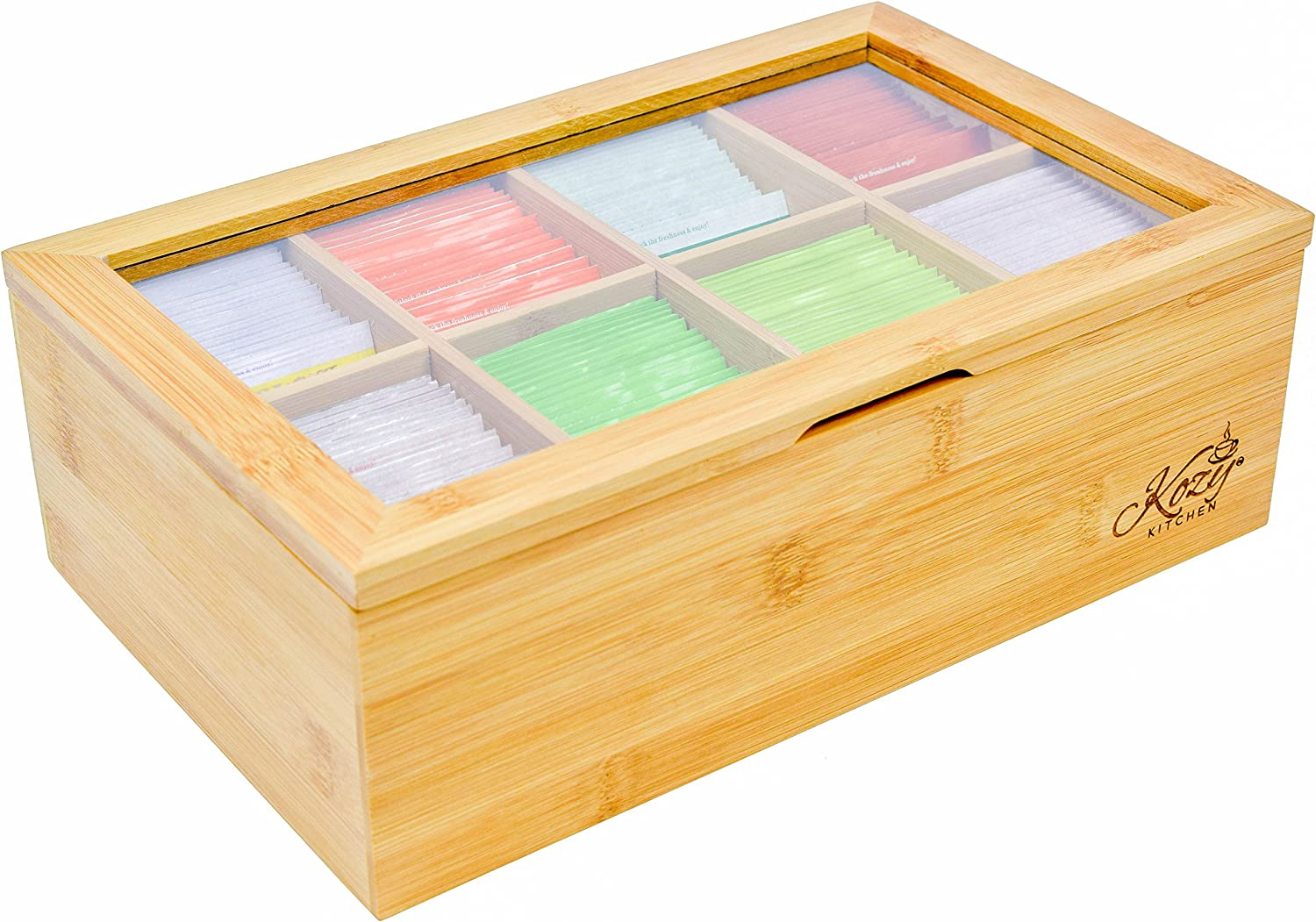 Bamboo Tea Box Storage Organizer, 100% Natural Wooden Finish Tea Bag Organizer 8 Storage Compartments and Clear Shatterproof Hinged Lid