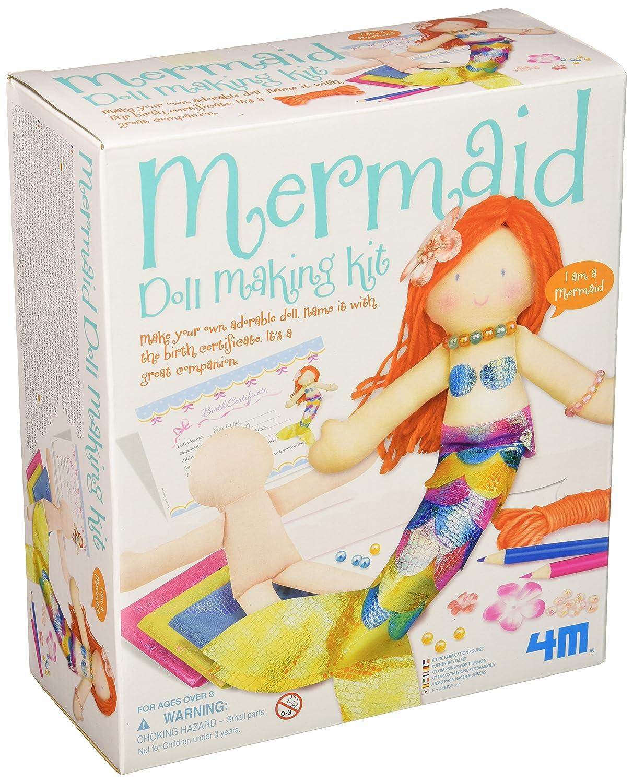 4M Mermaid Doll Making Kit - DIY Arts & Crafts Sewing Yarn Gift for Kids, Girls & Boys