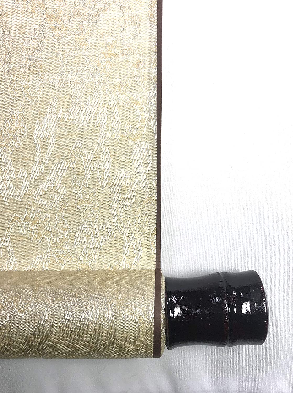 Japanese Buddhism Zen Calligraphy Painting NICHINICHI KORE KONICHI by Fumi Wada on Light Beige Wall Hanging Scroll