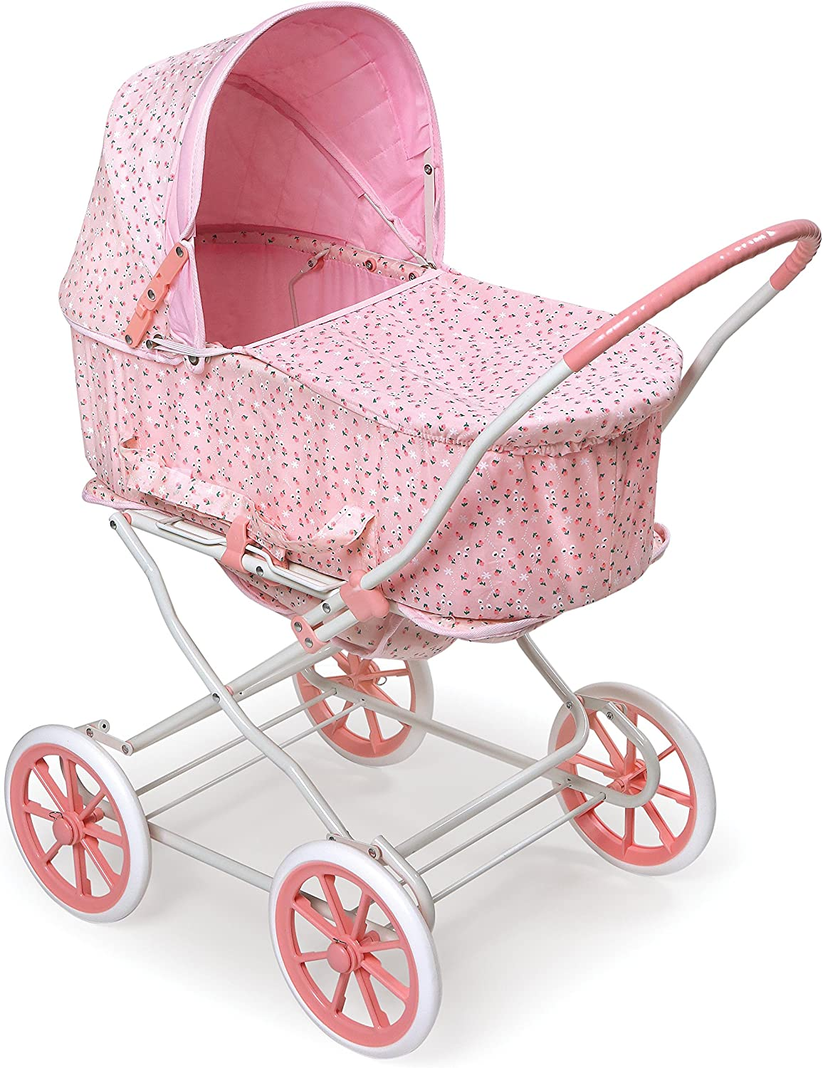 B0007ZKN5U Badger Basket Pink Rosebud 3-in-1 Doll Pram, Carrier, and Stroller (fits American Girl Dolls) 91l2BsBaO1yL