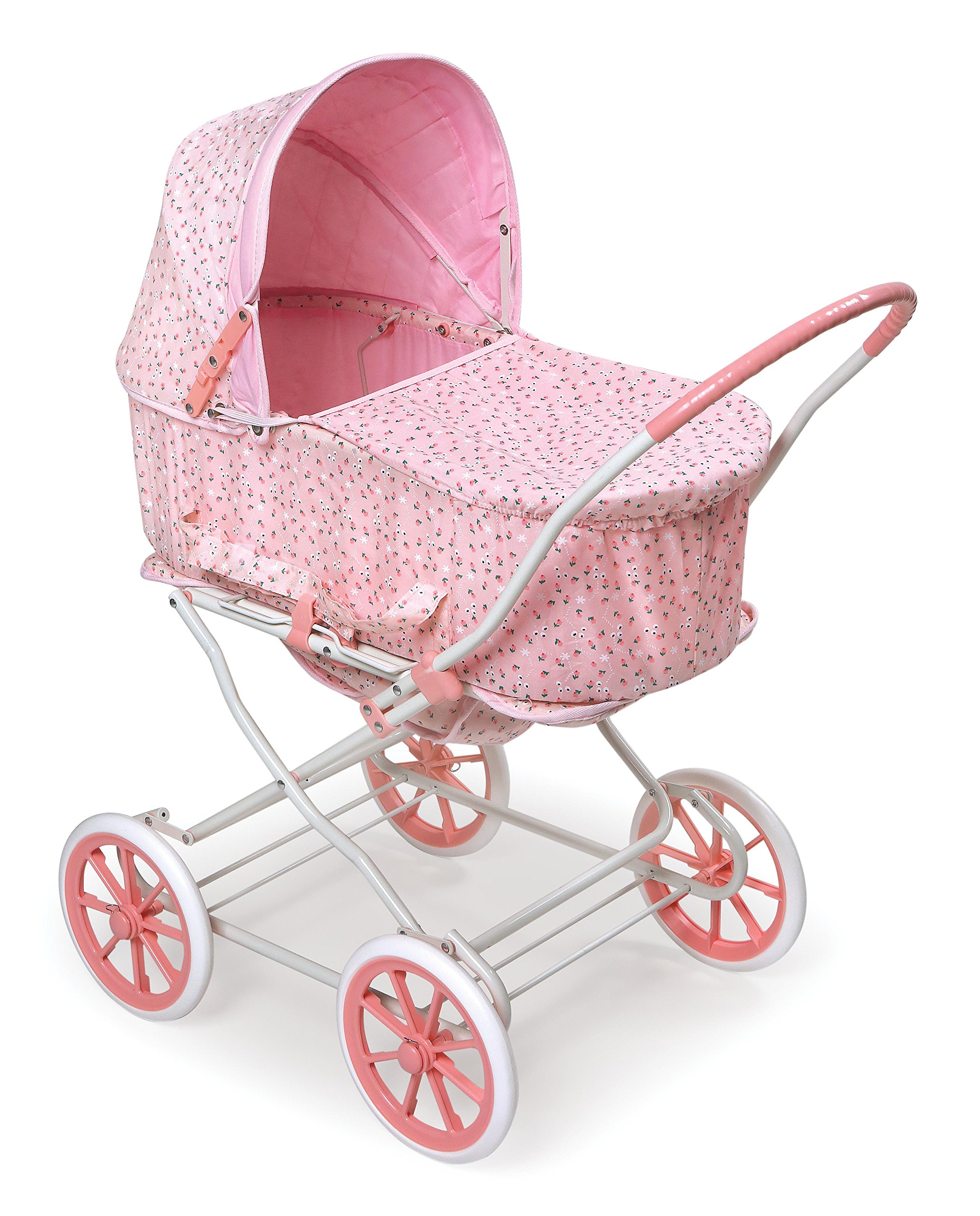 Badger Basket Pink Rosebud 3-in-1 Doll Pram, Carrier, and Stroller (fits American Girl Dolls) by Badger Basket
