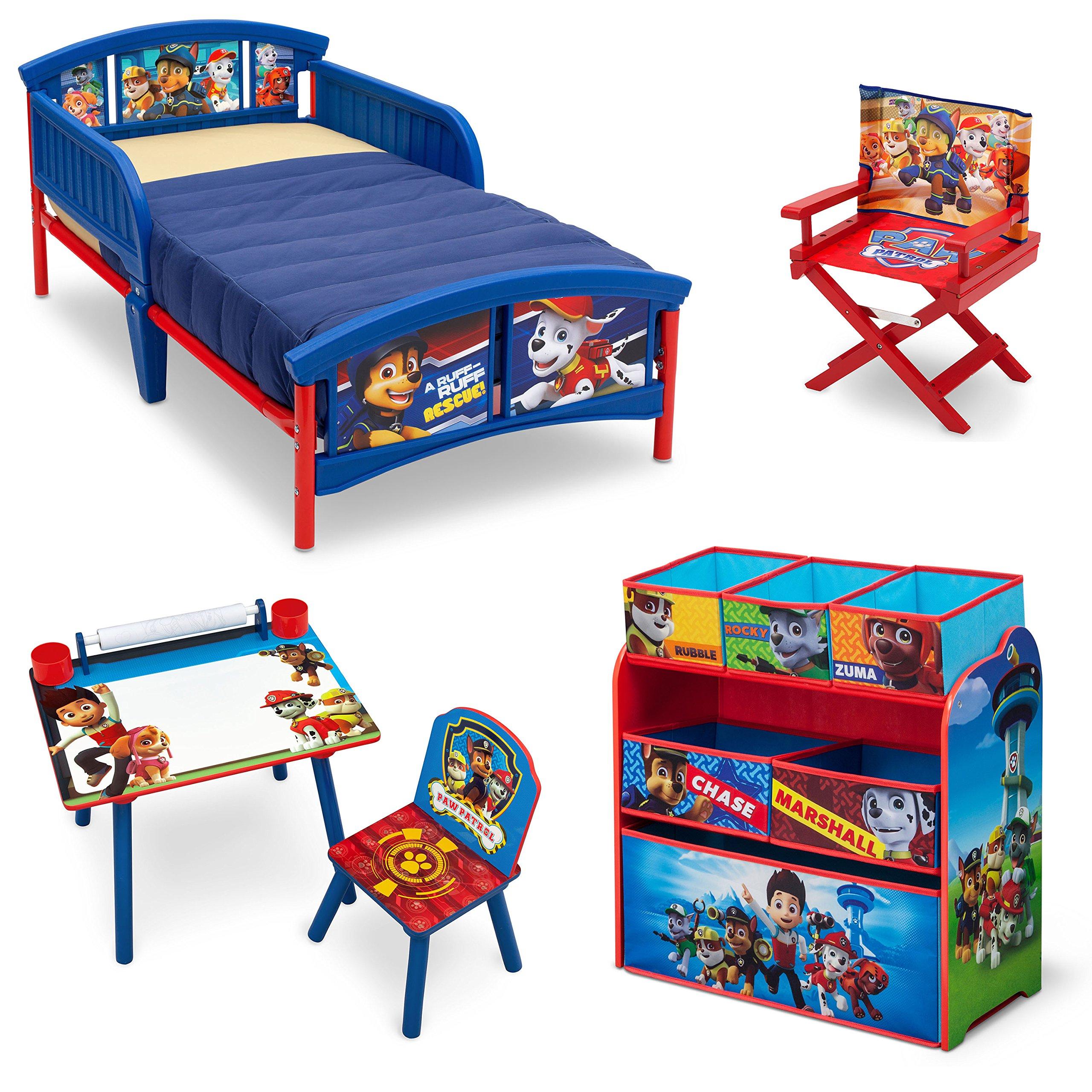 Nick Jr. PAW Patrol Room-in-a-Box with BONUS Chair (Plastic Toddler Bed, Multi-Bin Organizer, Art Desk, Director's Chair)