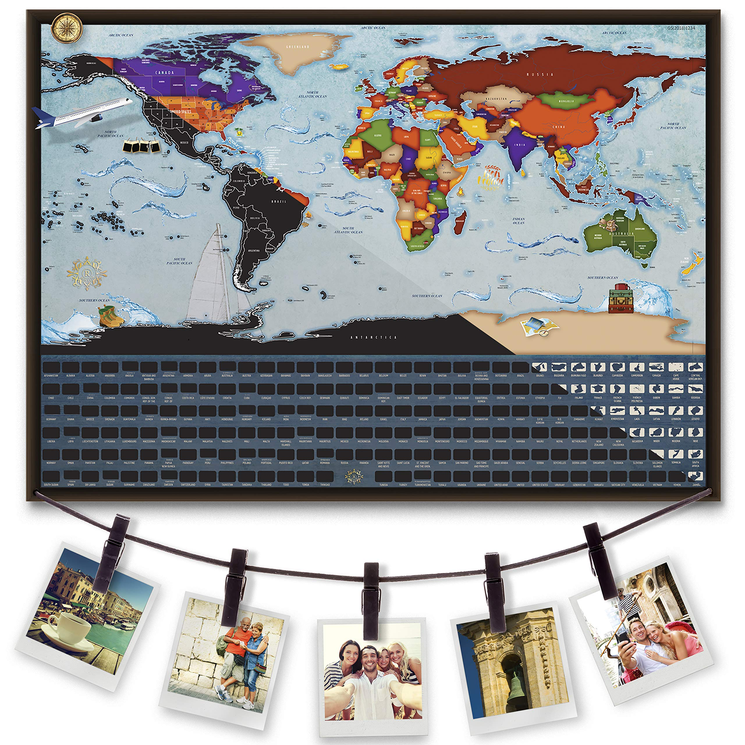 Scratch Off World Map with Hanging Rope: 17 x 24 Inch Travel Poster, Including Pins, Mounting Stickers, and Scratching Pen. by Royalin