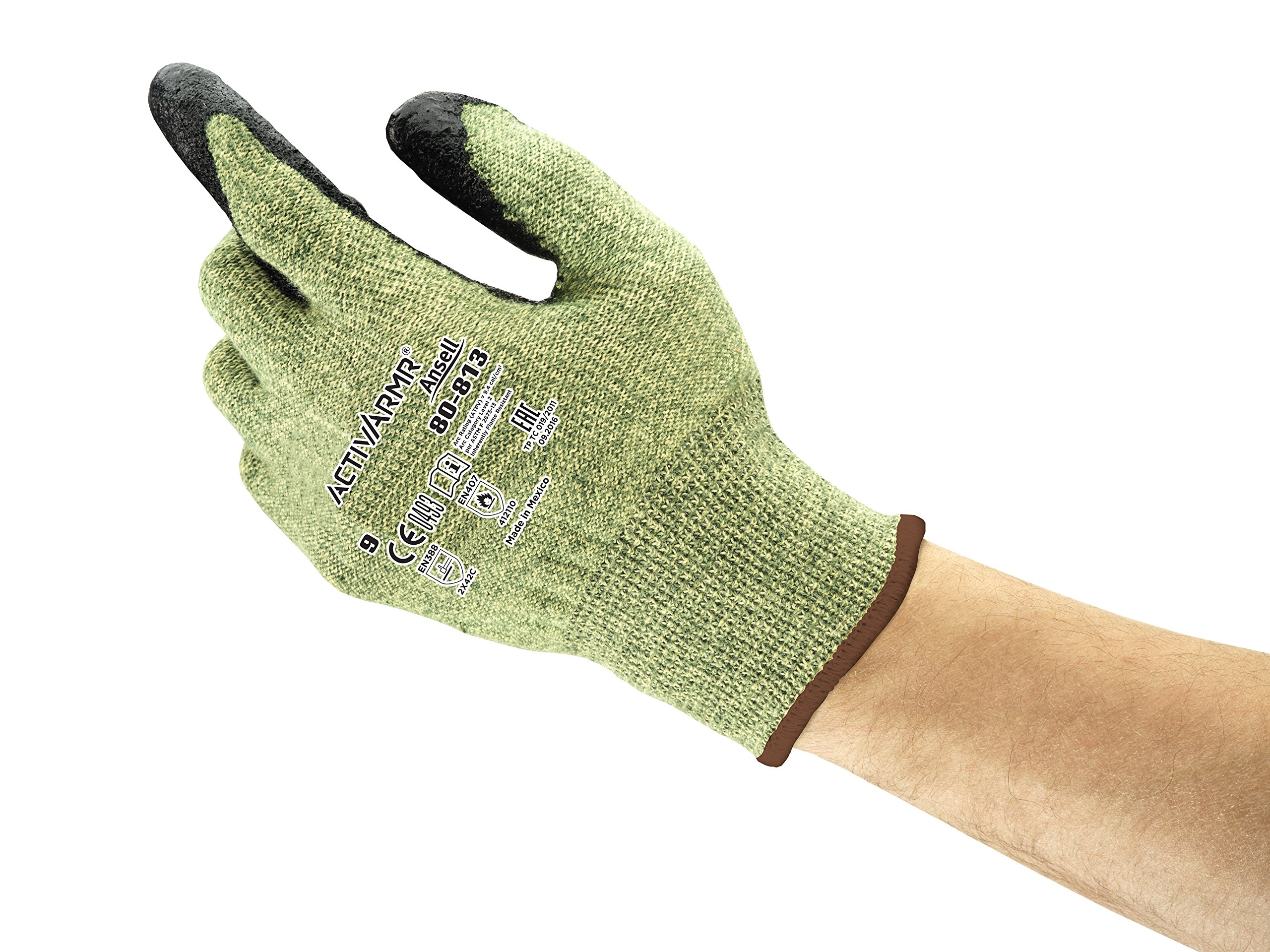 Ansell PowerFlex 80-813 DuPont Kevlar Special Purpose Glove with Knitwrist, Flame/Cut Resistance, Size 9 (Pack of 12 Pair)
