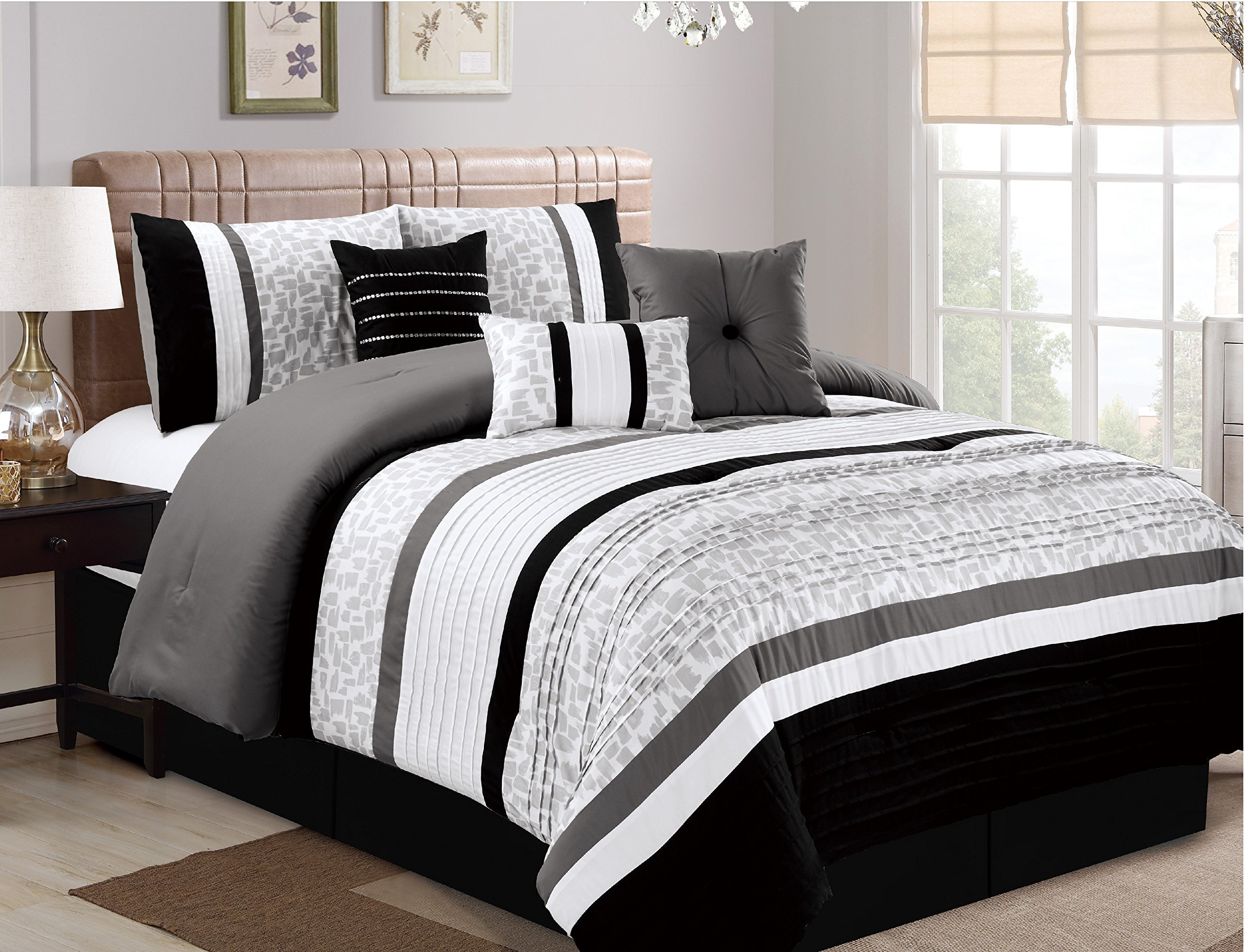 JBFF 7 Piece Oversize Luxury Stripe Bed in Bag Microfiber Comforter Set, Black, King