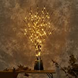 LITBLOOM Lighted Brown Willow Branches with Timer and Dimmer Tree Branch Lights with Warm White Lights for Holiday and Home D