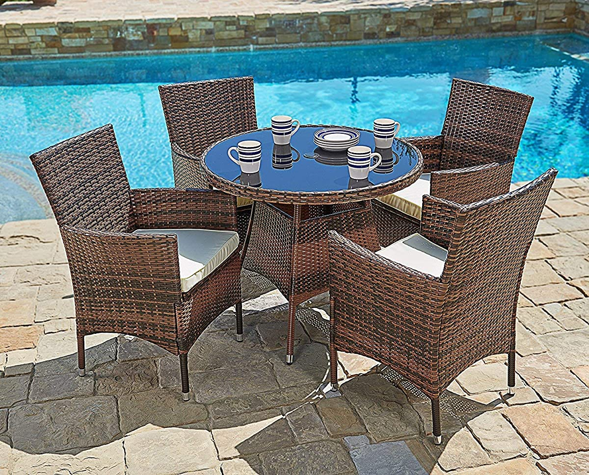 SUNCROWN Outdoor Furniture All-Weather Wicker Round Dining Table Chairs (5-Piece Set) Washable Cushions | Patio, Backyard, Porch, Garden, Poolside | Tempered Glass Tabletop | Modern Design