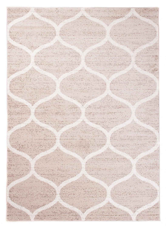 Tapiso Sari Teppich Kurzflor   Modern Teppiche in Creme Weiss mit Designer Geometrisch Marokkanisch Muster   Perfekt für Wohnzimmer, Gästezimmer   ÖKOTEX 200 x 290 cm