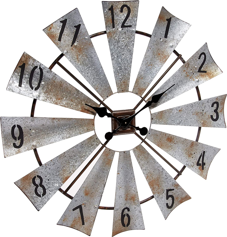 """Rustic Metal Round Windmill Wall Clock 30"""""""