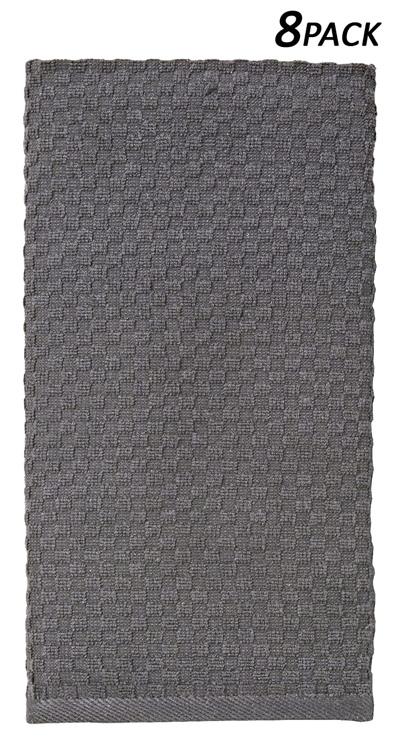 Cotton Craft   8 Pack Charcoal EuroCafe Waffle Weave Terry Kitchen Towels  16x28, 100% Ringspun 2 Ply Cotton Highly Absorbent Low Lint, Professional  Grade ...