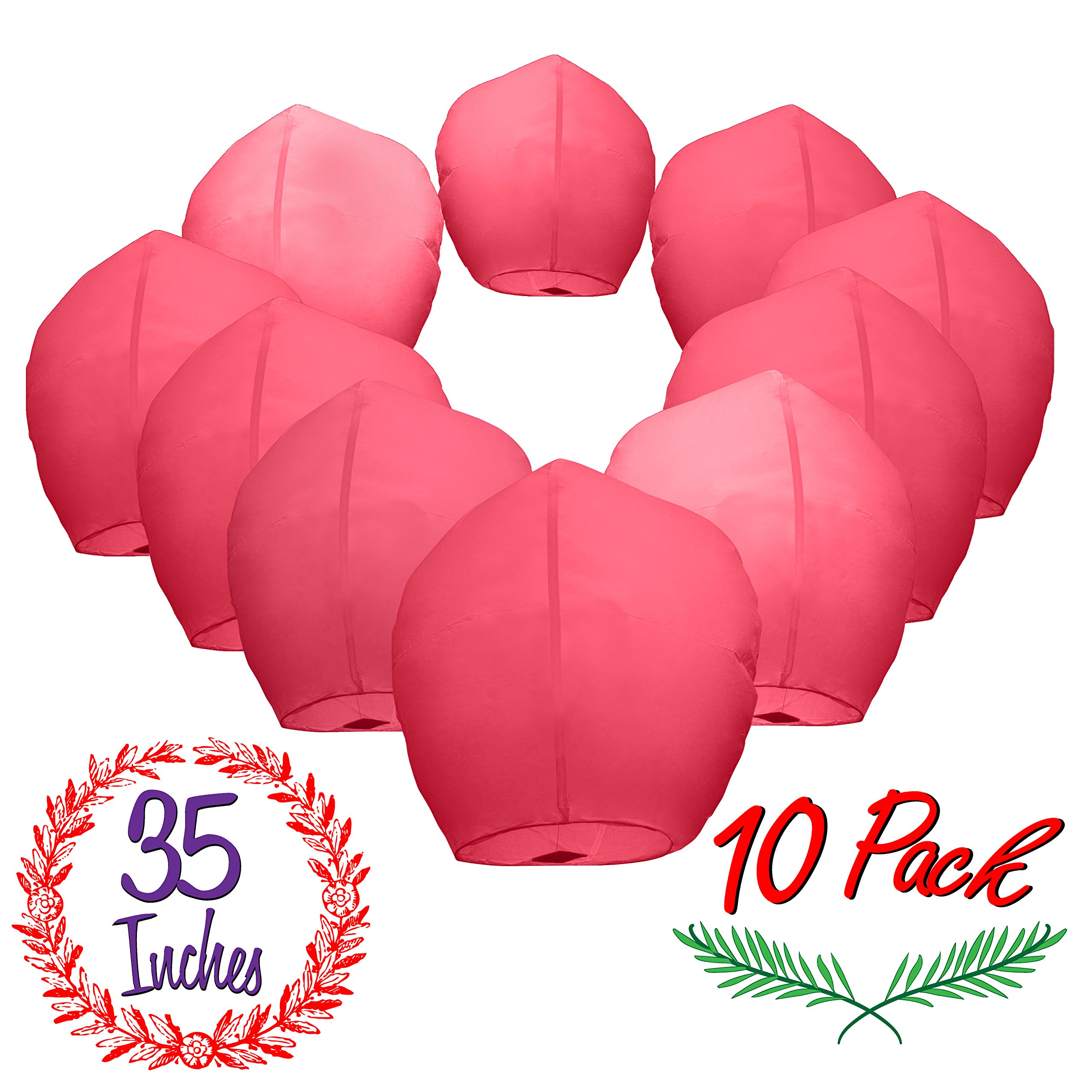 Chinese Sky Lanterns Paper (10) Red Pack - Ready to Use and Eco Friendly - Extra Large - 100% Biodegradable - Beautiful Sky Lantern for Parties, Chinese Festival, Memorials, New Year's, etc. by Gracie's Goods