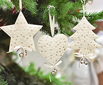 a08c7c94a60 Victor s Workshop Conjunto de 6 adornos de decoración de Navidad adorno de  Navidad de metal colgante ...