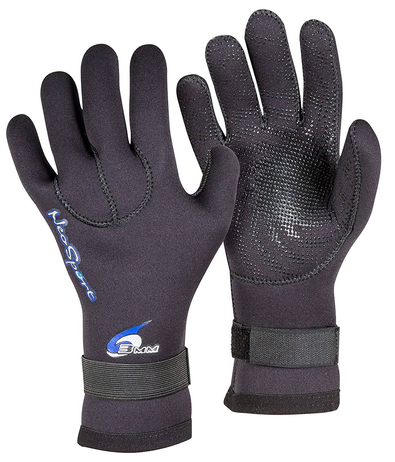 Neo Sport 3MM 5MM Premium Neoprene Five Finger Wetsuit Gloves with gator elastic wrist band. Use for all watersports diving boating cleaning gutters pond and aquarium maintenance