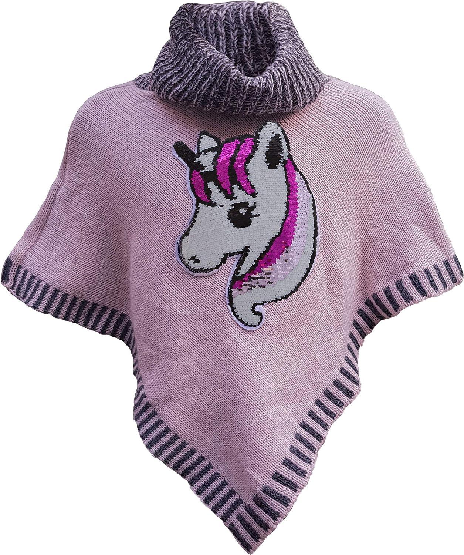 Poncho da bambina con unicorno e paillettes.