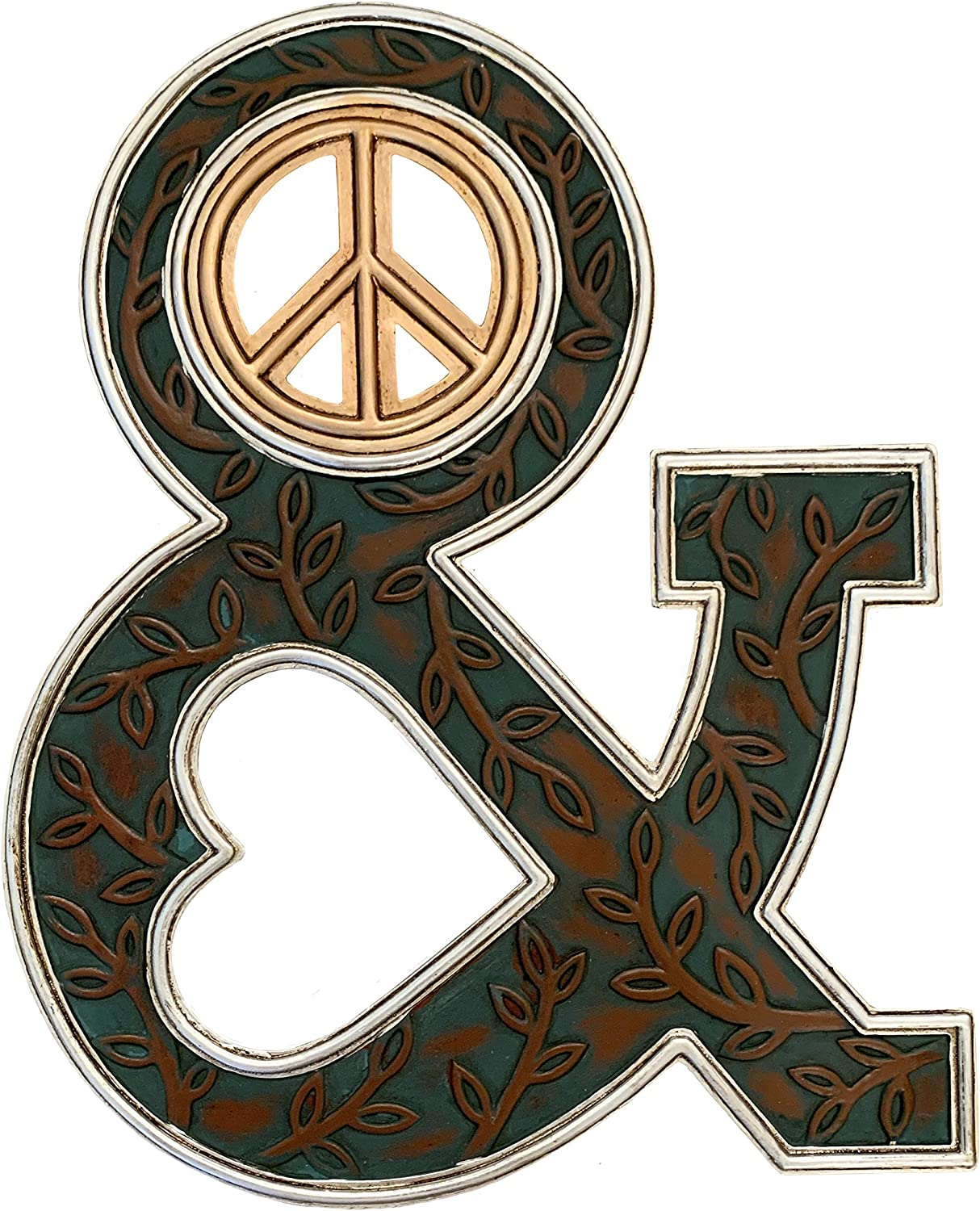 Peace & Love Wall Decor Plaque Sign - Groovy Ampersand Hippie Art