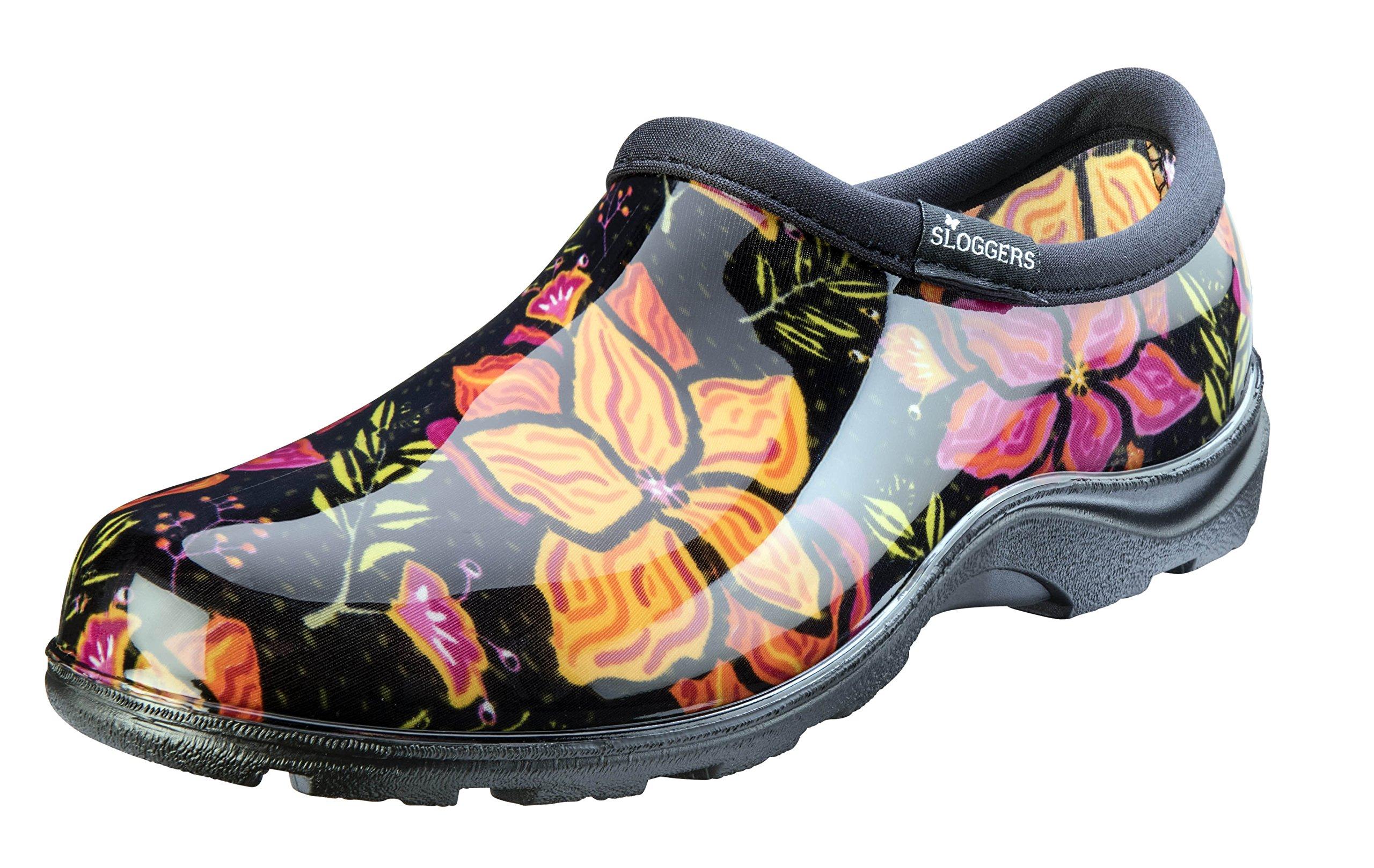 Sloggers Women's Waterproof Rain Garden Shoe Comfort Insole, Spring Surprise Black, Size 10, Style 5118SSBK10