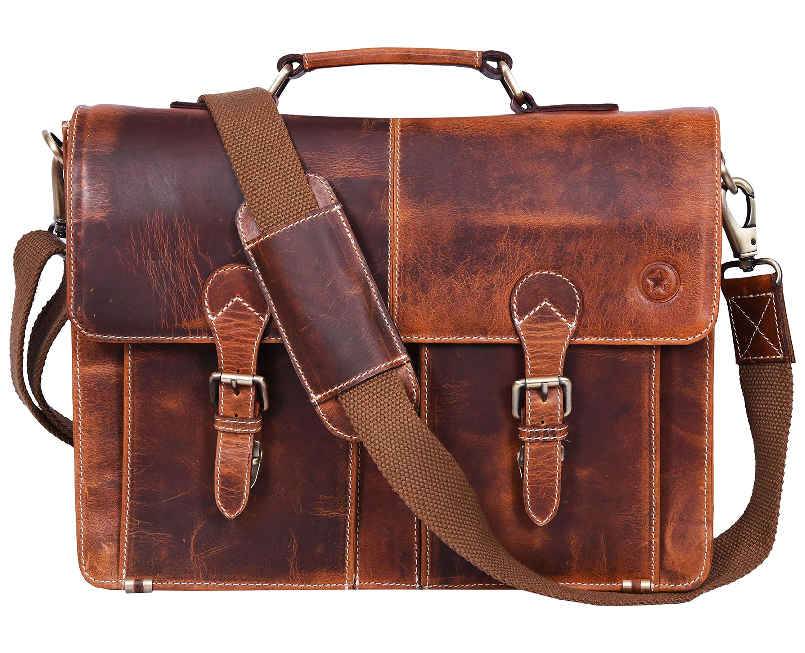 16'' Leather Briefcase Messenger Bag for Laptop by Aaron Leather (Brown)