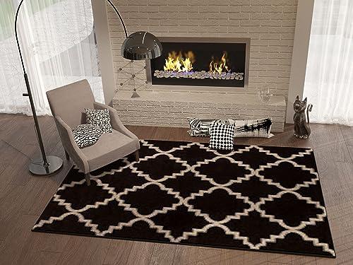 Black Ebony 5×8 5'3″ x 7'3″ Area Rug Trellis Morrocan Modern Geometric Wavy Lines Area Rug Living Dining Room Bedroom Resistant Carpet Contemporary Soft Plush Quality