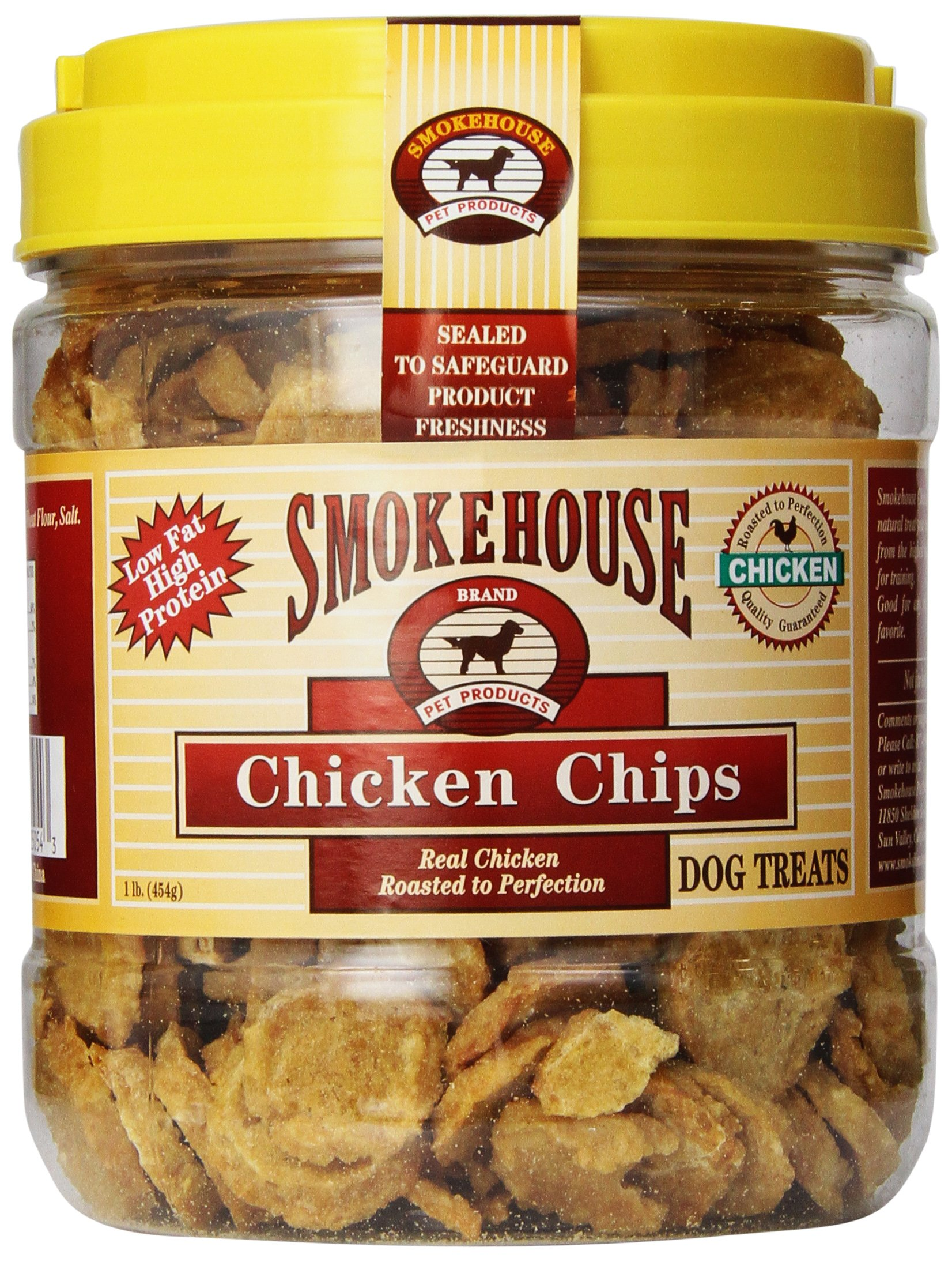 Smokehouse 100-Percent Natural Chicken Chips Dog Treats, 1-Pound by SMOKEHOUSE TREATS