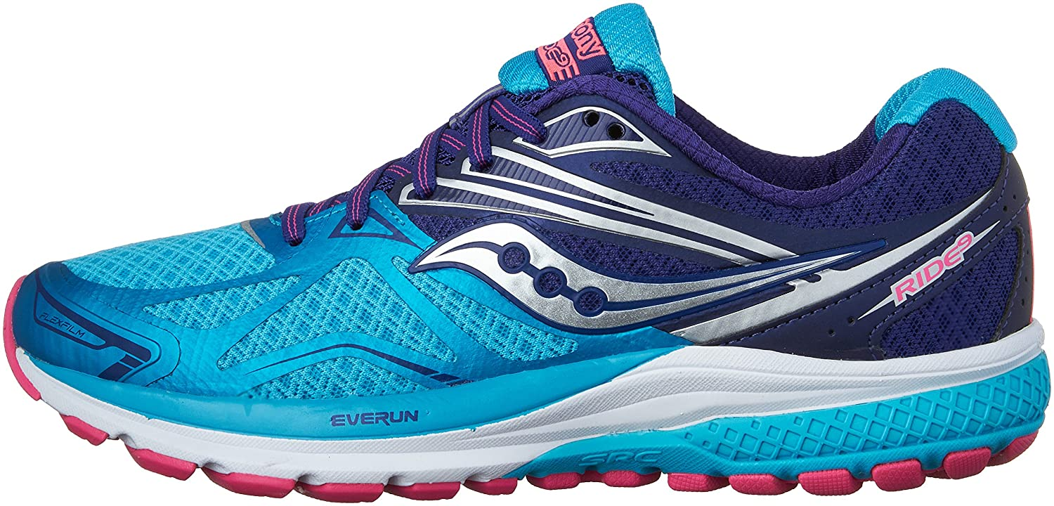 Saucony Women's Ride 9 Running Shoe B018EZQY2K 8 N US|Navy | Blue | Pink