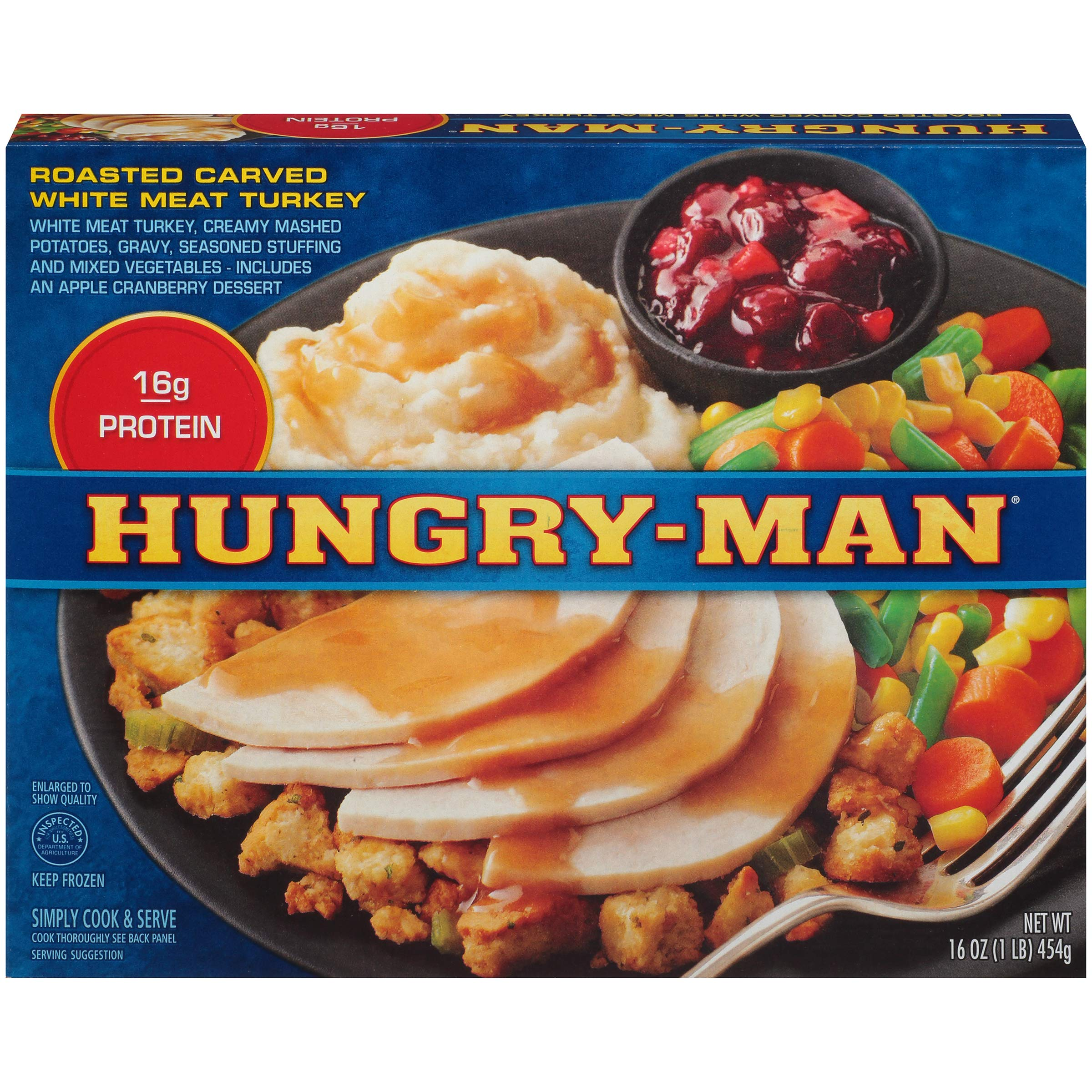 Hungry Man Roasted Carved Turkey Dinner 16 oz Pack of 8