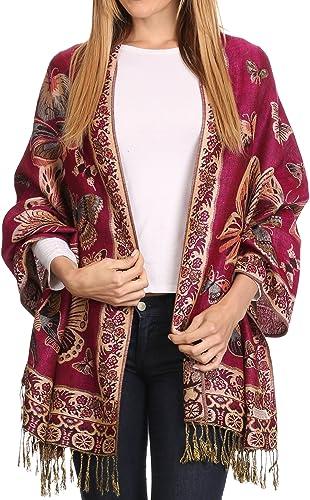 Sakkas Liua lungo ampio tessuto modellato design Multicolore Pashmina Scialle / sciarpa