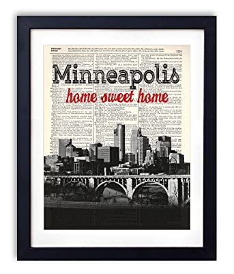 Minneapolis Home Sweet Home Vintage Upcycled Dictionary Art Print 8x10