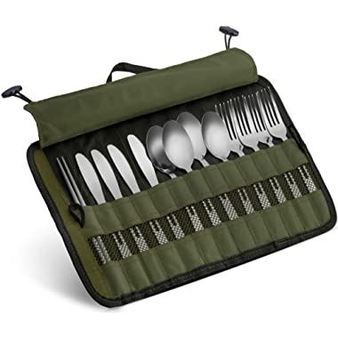 13 Piece Stainless Steel Family Cutlery Picnic Utensil Set with Travel Case for Camping | Hiking | BBQs - Includes Forks | Spoons | Knifes | Chopstick, Plus Nylon Commuter Case