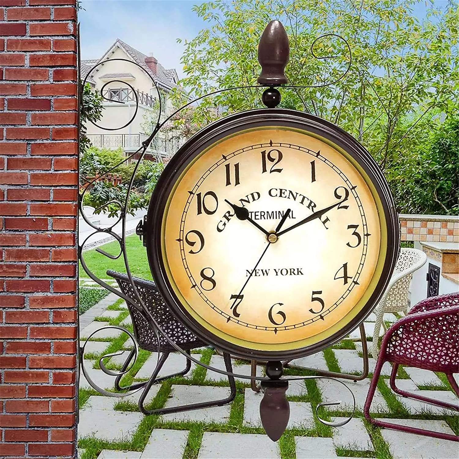 WJIEH Train Station Clock European Style Retro Metal Double Sided Wall Clock Outdoor Garden Vintage Wall Clock Mute Double Sided Wall Clock Home Decoration