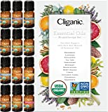 Cliganic Organic Aromatherapy TOP 12 Essential Oils Set, 100% Pure - Peppermint, Lavender, Eucalyptus, Tea Tree…
